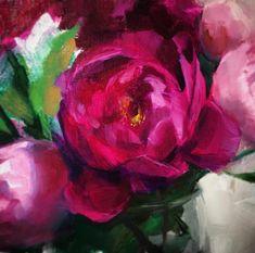 "Detail of ""Fushia and White"", 10x20, oil on linen panel, artist Anna Rose"