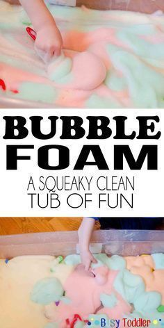 Bubble Foam Sensory Activity - Busy Toddler Bubble Foam: a squeaky clean tub of fun<br> Step by step directions for making tear free bubble foam using household items. A fun toddler sensory activity that's squeaky clean and easy to set up. Sensory Activities Toddlers, Infant Activities, Learning Activities, Childcare Activities, Bubble Activities, Outdoor Toddler Activities, Young Toddler Activities, Toddler Sensory Bins, Rainy Day Activities For Kids