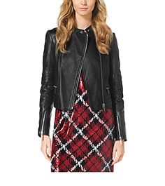 Every wardrobe deserves a luxe leather jacket. This season's must-have piece is finished with quilted panels and edgy asymmetrical zippers for a chic biker feel. Team it with a tartan-print dress and ankle boots for a downtown vibe, or let its tough feel temper a feminine skirt.