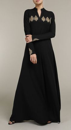 Qasba Abaya Black A delicate embroidered abaya complimented by a v-neck line with stunning embroidery on the front top bodice and sleeves. The Qasba Abaya is an ideal addition to your occasion wear wardrobe Abaya Fashion, Muslim Fashion, Modest Fashion, Fashion Dresses, Gown Party Wear, Hijab Evening Dress, Abaya Designs, Dress Clothes For Women, Muslim Dress