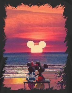 Mickey Mouse and Minnie Mouse Sunset - . - Disney Mickey Mouse an Disney Magic, Art Disney, Disney Kunst, Disney Artwork, Disney Ideas, Disney Mickey Mouse, Arte Do Mickey Mouse, Mickey Mouse Quotes, Disney Cars