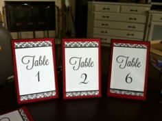 Black, White, Damask, and Red Tablecards :  wedding reception table numbers black red white diy