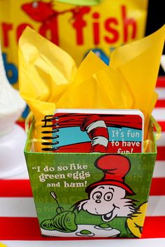 Dr. Seuss Birthday Party Favors Several other Dr. Seuss themed goodies — like notepads and bags — were also perfect for party favors!Source: Phronsie   Courtney Dial of Pizzazzerie