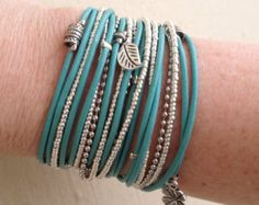 Black wrap bracelet with silver charms & turquoise door DesignsbyNoa