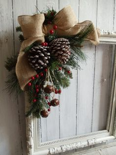 Primitive Shabby Antique Picture Frame Christmas Wreath Wall Door Mantel Holiday Display Unique Upcycled Hand Made Craft Vintage Decor