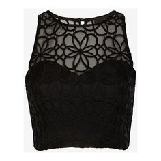 Nicholas Organza Lace Crop Bustier: Black ($280) ❤ liked on Polyvore featuring tops, shirts, crop tops, blusas, black, lace crop top, see through tops, embroidered shirts, lace tops and sleeveless shirts