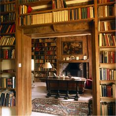 Harold Nicholson's #library in the south cottage at Sissinghurst Castle, seen from his study. Countrylifeimages.co.uk #biblioteca #biblioteche