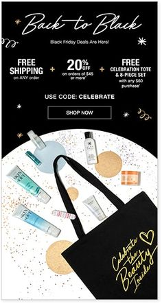 Nov 24-26 Thanksgiving-Black Friday FREE shipping on all orders + 20% off any $45+ order + FREE Celebration Tote and 8-piece Bath & Body Set with $60+ DD order code: CELEBRATE www.youravon.com/rdunaway
