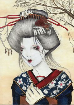 geisha by Sere Art Illustrations, via Flickr
