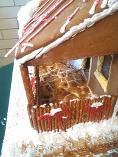 Gingerbread house flagstone patio using peanut brittle Flagstone Patio, Peanut Brittle, Gingerbread, Holidays, Desserts, House, Ideas, Food, Tailgate Desserts
