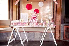 Christmas in July Candy Bar - by Little P's Parties Christmas In July, Parties, Candy, Bar, Furniture, Home Decor, Fiestas, Decoration Home, Room Decor