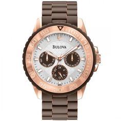 Bulova Bulova Women's Silver Dial Chronograph Rose-Gold Brown Rubber... ($275) ❤ liked on Polyvore featuring jewelry, watches, chronograph wrist watch, bulova wrist watch, bulova, bulova wristwatches and chronograph watches