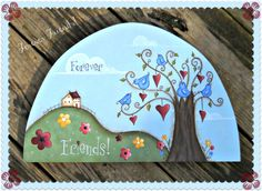 E PATTERN - Forever Friends - Hearts, birds, flowers - Inspired by Terrye French, Painted by Sharon Bond Painting Words, Tole Painting, Fabric Painting, Painting On Wood, Country Paintings, Happy Paintings, Mobiles, Brick Crafts, Pintura Country