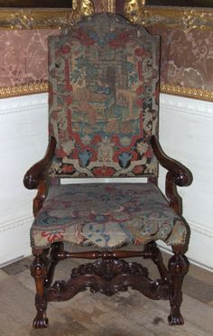 Armchair late 1600s by the French Huguenot refugee Designer Daniel Marot@  Uppark © National Trust / Andrew Fetherston