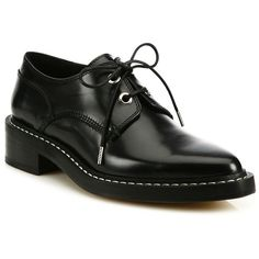 Rag & Bone Kenton Leather Derby Oxfords (3,290 CNY) ❤ liked on Polyvore featuring shoes, oxfords, apparel & accessories, black, shiny black shoes, polish shoes, black leather oxfords, leather oxford shoes and lace up oxfords