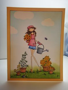 "Stamping Bella ""Uptown girl pippa loves to plant"" stamp, fiskars cloud punches, Copics, distress inls."
