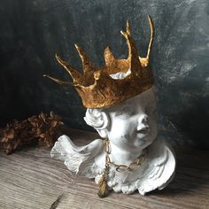 Crowned Angel Statue / Cherub Statue With Crown / Shabby Angel With Papier Mache Crown / French Country Decor / Cottage Chic Decor by Untried on Etsy