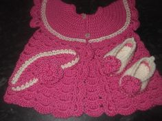 gorgeous baby set. Coat, shoes and headband in raspberry and cream. 0-3months   £25 plus p&p https://www.facebook.com/anneshandmadebabyshoes