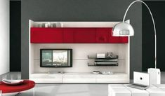14+ Chic and Modern TV Wall Mount Ideas for Living Room - Red and white TV wall mount decor