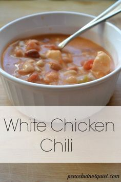White Chicken Chili -- one of our family's cold weather faves! It's cooked in a crockpot, so it's easy to make. Nice, warm, tasty comfort food!