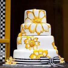 yellow and navy wedding cakes