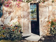 """antigua - hawksbill resort - waterfront cottages (2) micheal zarowsky watercolour on arches paper 22"""" x 30"""""""