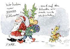 "Peter Gaymann Postkarte ""Wir haben einen Follower"""