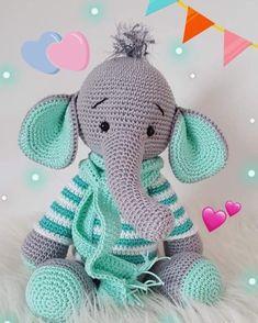 Amigurumi Elefante Grande! Kit Con Sonajero- Muñeco Apego - $ 999 ...   294x235
