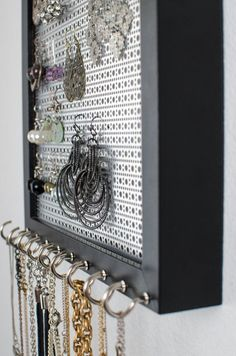 Organize your Hook Earrings & Necklaces I've created the BEST Jewelry Organizer. This Solid Black Frame holds all your Hook Earrings & Necklaces. It hangs on the wall to provide the perfect Jewellery Storage, Jewellery Display, Gold Jewellery, Hanging Wall Organizer, Earring Display Stands, Thrift Store Crafts, Metal Screen, Jewelry Holder, Diy Earring Holder