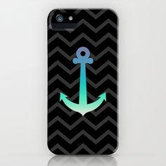 Glitteresques XV Black Anchor iPhone & iPod Case by Rain Carnival - $35.00 #iphone #samsung #case #skin #anchor #chevron