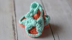 crochet newborn sandals - YouTube