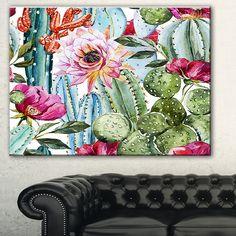 Cactus Pattern Watercolor' Floral Digital Art Canvas Print