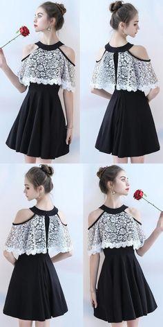 Chiffon Homecoming Dress, A-Line Knee-Length Homecoming Dress, Lace Homecoming Dress 1606 by RosyProm, $108.99 USD