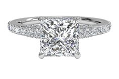 French-Set Diamond Band Engagement Ring - in 14kt White Gold - (0.45 CTW)