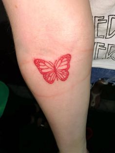 Butterfly Tattoos 82731 red butterfly tattoo discovered by ¡slut! on We Heart It Butterfly Hand Tattoo, Butterfly Tattoo Designs, Red Butterfly, Red Heart Tattoos, Red Ink Tattoos, Small Tattoos, Flower Tattoos, Ribbon Tattoos, Tiny Tattoo