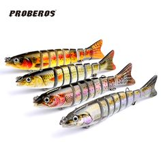 "4pc 8 Sections Fishing Lure 12.5cm/5""-0.65oz/18.8g Swimbait Fishing bait 6# VMC Hook Fishing Tackle HS-006"