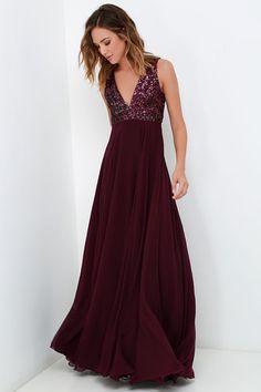 Sparkly Sequins V Neck Burgundy Long Chiffon Bridesmaid Dress