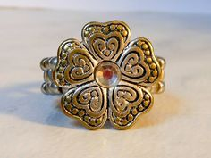 Bronzy Flower Stretch Ring    Size 10  Adjustable by GemstoneCowboy on Etsy