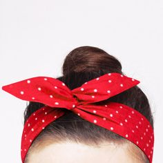 Classic red wire headband with small polka dot print. Perfect for Rosie the Riveter outfit.  ♥ Your new headband:  * Made out of lightweight