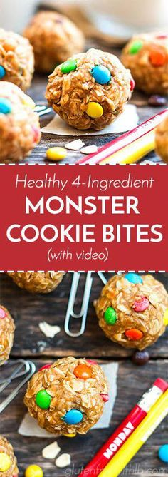 Healthy Monster Cookie Bites A recipe for healthy monster cookie bites that is gluten-free, vegan and only take 10 minutes to make. These tiny bites of bliss make a great kid-friendly afternoon snack or dessert. Dinners For Kids, Healthy Snacks For Kids, Healthy Drinks, Kids Meals, Dessert Healthy, Eat Healthy, Healthy Travel Snacks, Easy Meals, Dessert Simple