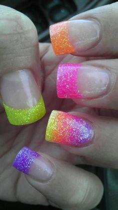 Nail art is a very popular trend these days and every woman you meet seems to have beautiful nails. It used to be that women would just go get a manicure or pedicure to get their nails trimmed and shaped with just a few coats of plain nail polish. Rainbow Nails, Neon Nails, Glitter Nails, Sparkly Nails, 80s Nails, Bright Nails, Neon Rainbow, Glitter Acrylics, Gradient Nails