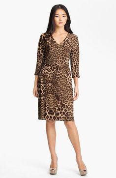 Anne Klein V-Neck Leopard Print Dress at Nordstrom.