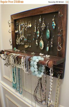 Beautiful Shabby Chic Wall Mounted Jewelry Organizer with a Bracelet