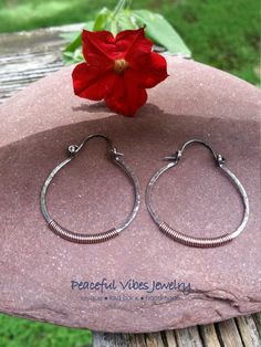Handmade Oxidized Antiqued Sterling Silver With Copper Hoop Earrings Simple Minimalist Wire Wrapped Hinged Hoop Earrings Artisan Jewelry by PeacefulVibesJewelry on Etsy