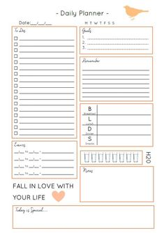 Free Daily Planner Printables – Organized By Jessica To Do Planner, Daily Planner Pages, Life Planner, College Planner, College Tips, Planner Diy, Agenda Planner, Project Planner, Planner Layout