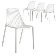 Set of 4 - Hudson Chair - White - Milan Direct