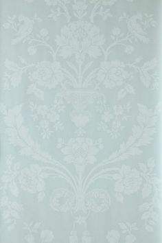 St Antoine (BP 945) - Farrow & Ball Wallpapers - A beautiful french damask creeping floral motif in a pictorial design. Shown here in duck egg blue/green water based paints - more colours are available. Please request a sample for true colour match