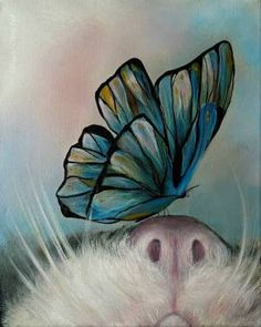 Resultado de imagem para whimsical purple cat and butterfly painting