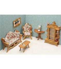 Each room contains at least 6 pieces, in the true 1inches = 1 foot scale. All wood construction. Recommended for children 12 and up. With supervision, 7 and up. Beautiful furniture that will add a gre