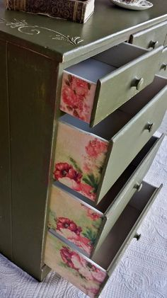 Wood chest of drawers / dresser with 7 drawers painted in Annie Sloan Olive.  By FindersKeepers  #anniesloanolive  #decoupagefurniture